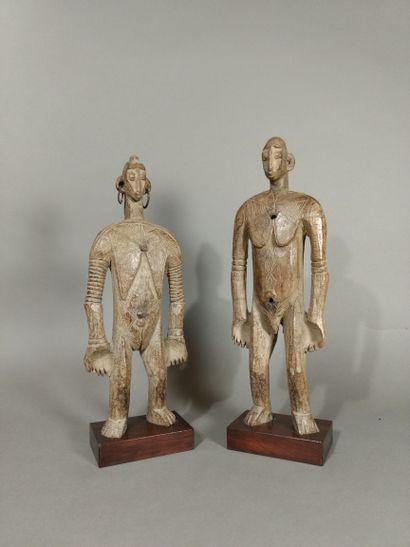 Couple de statuette Mossi, Burkina Faso  Bois,...