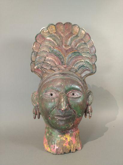 Masque Orissa, Inde  Bois, pigments, accidents...