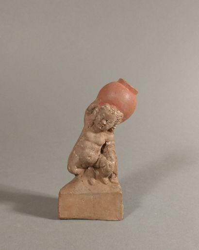 Figurine of a naked priapic dwarf supporting...