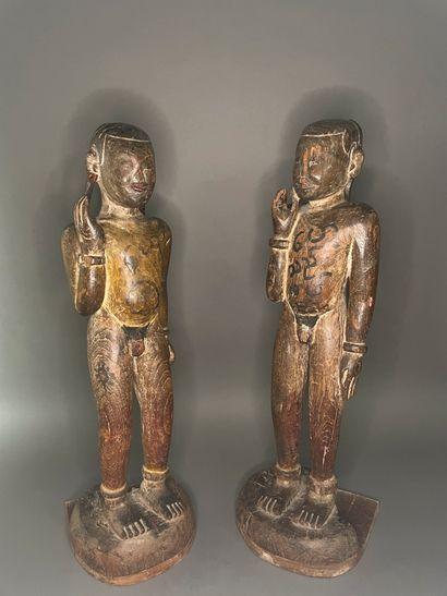 BIRMANIE - Début XXe siècle  Deux statuettes...