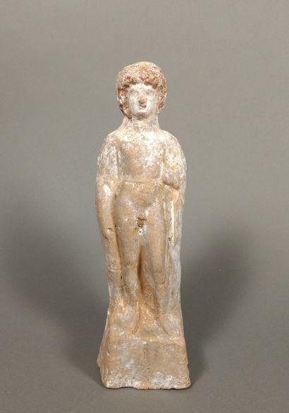 Statuette de jeune éphèbe portant d un drapé...