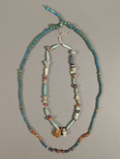 Lot of two necklaces made of pearls.  Turquoise...