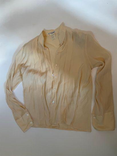 GUY LAROCHE Robe chemise bleue rayures...