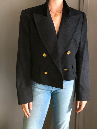 Veste courte à épaulettes En laine grise...