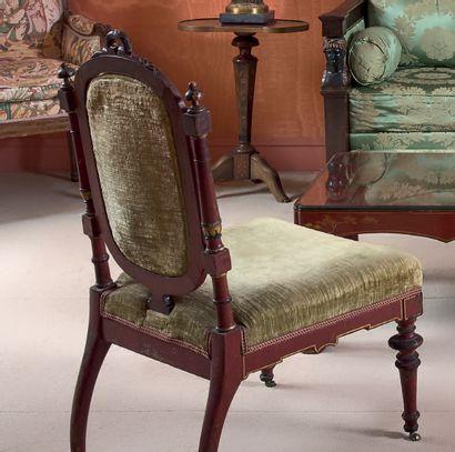 Chaise «chinoisante» en hêtre mouluré, tourné,...