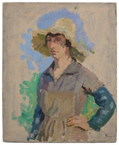 FRÉDÉRIC BAZILLE (1841-1870) Vendangeuse au chapeau jaune - 1868 Huile sur carton,...