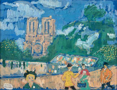 Fikret MOUALLA (1903-1967) Notre-Dame et les quais Gouache montée sur toile, signée...