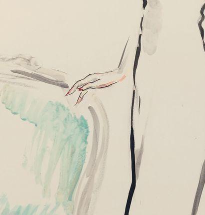 Kees VAN DONGEN (1877-1968) Élégante au soulier rouge Aquarelle, signée en bas à...