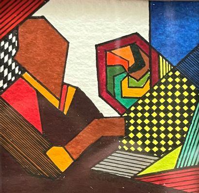 Serge COURTE (né en 1940) Sans Titre Deux gouaches et encre formant pendant 5 x 5...
