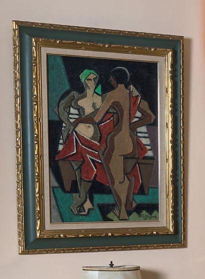 Jean METZINGER (1883-1956) Deux femmes, après 1947 Huile sur toile, signée en bas...