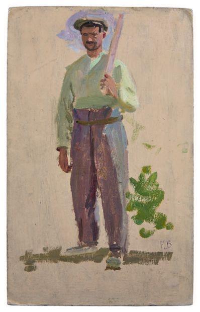 FRÉDÉRIC BAZILLE (1841-1870) Vendangeur à la casquette - 1869 Huile sur carton, signée...