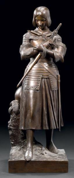 MARIE-CHRISTINE D'ORLÉANS (1813-1839) Jeanne d'Arc Bronze à patine brune, vers 1840...