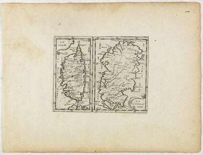 BRIET, PHILIPPE La Corse/La Sardaigne. Paris, 1649. Papier légèrement jauni. Bel...