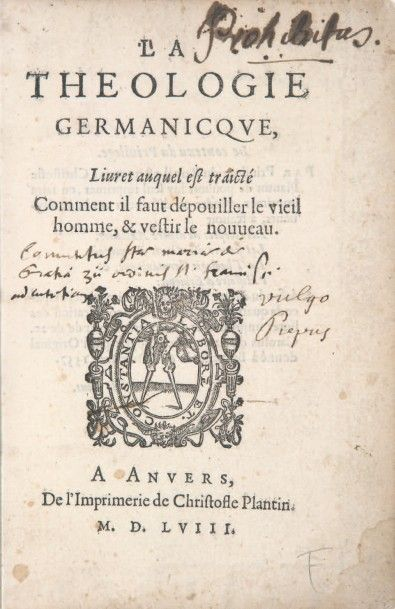 THEOLOGIE GERMANICQUE (La), Livret auquel...