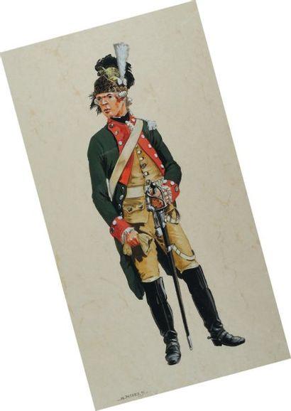 Capitaine du Royal Dragons en tenue de service,...