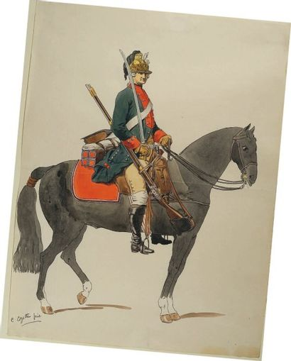 Cavalier d'Orléans Dragons selon l'ordonnance...