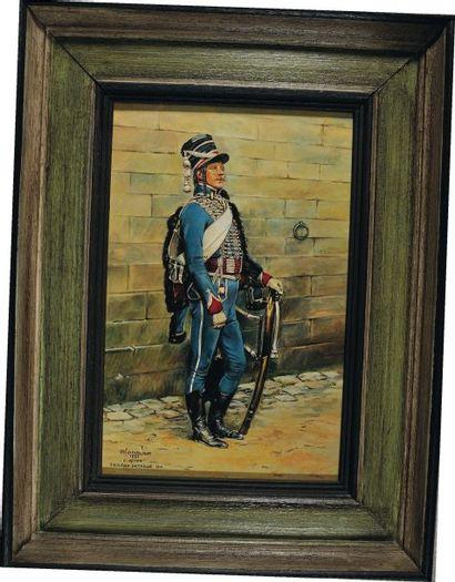 Hussard, Révolution. Huile sur panneau signée...