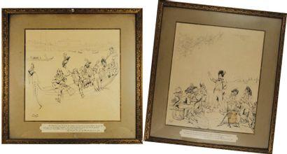 2 dessins originaux à la plume signés Job,...
