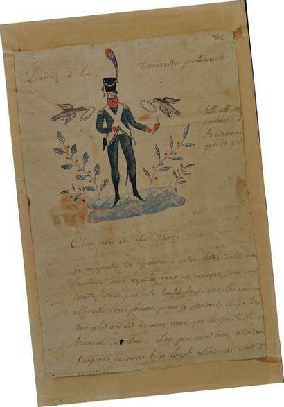 Lettre autographe signée d'un soldat d'Infanterie...