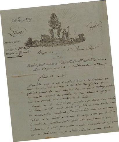 Lettre autographe signée du capitaine Bachot...
