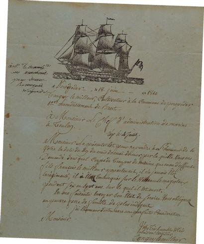 Lettre autographe signée. Lettre de Jean...