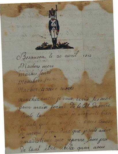 Lettre autographe signée d'un soldat du 93ème...