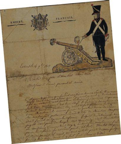 Lettre autographe signée d'un artilleur à...