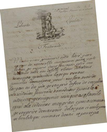 Lettre autographe signée Antoine Dejean datée...