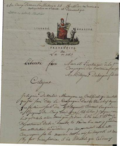 Lettre autographe signée du lieutenant Nanot...