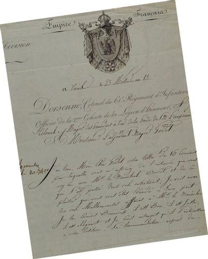 Lettre autographe signée du colonel Dorsenne,...