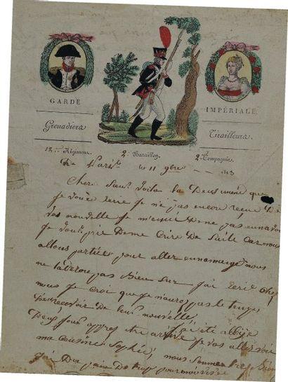Lettre autographe signée d'un grenadier tirailleur...