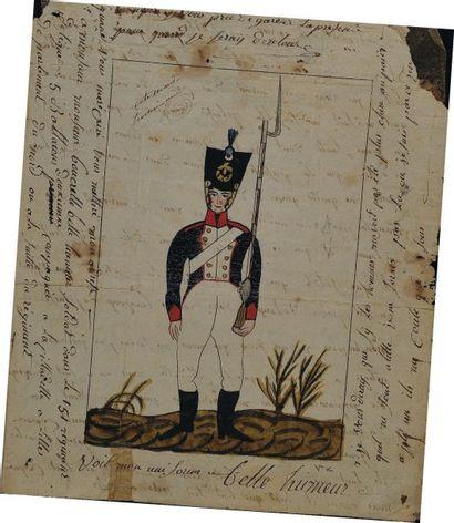 Lettre autographe signée du soldat Boncrelle, du 151e Régiment d'Infanterie de Ligne,...