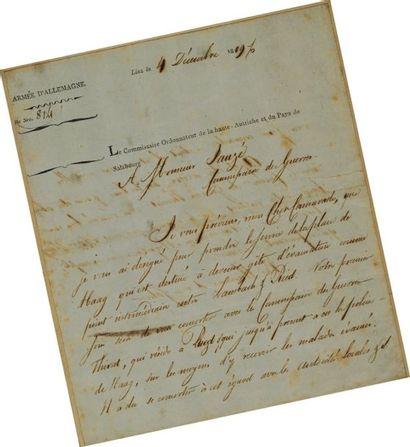 Lettre du Commissaire ordonnateur de la Haute...