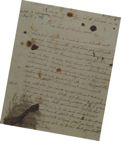 Lettre autographe signée du grenadier Dautriche,...