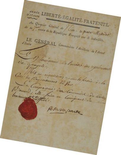 Lettre signée du Général Bonaparte, Commandant...
