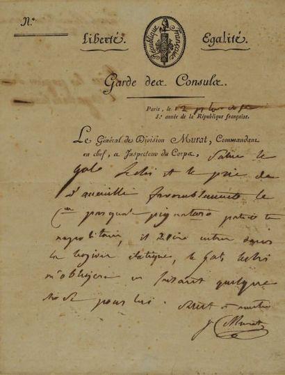 Lettre autographe signée du Général de division...