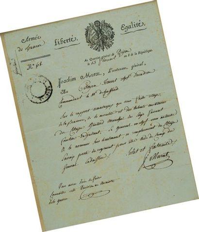 Lettre signée du Général de Division Joachim...