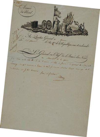Lettre du Général de Division Moreau (Jean-Victor),...