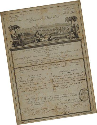 Brevet (Congé) à en-tête du Régiment de Dromadaires,...