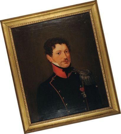 Portrait d'un Capitaine de Chasseurs à cheval,...