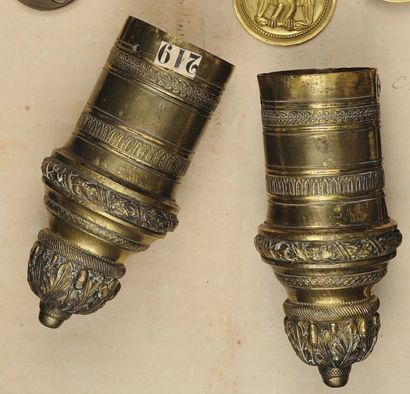 Paire d'embouts pour fontes d'Officier Général, Premier Empire. En bronze fondu...