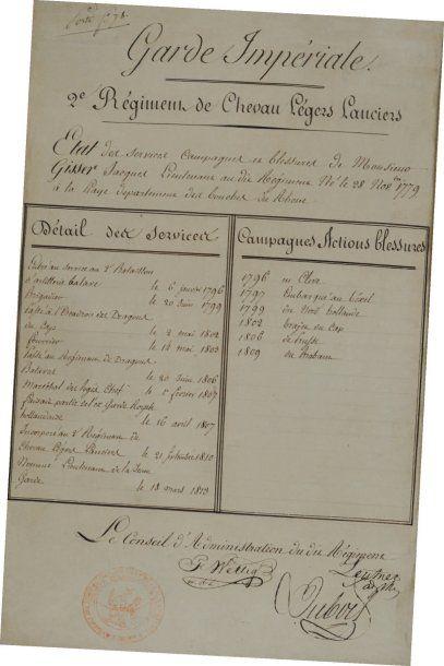 État de services du 2e Régiment de Chevaux-Légers...