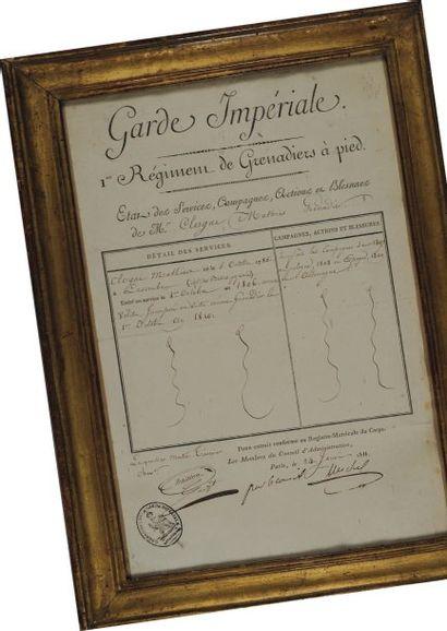 État de services du 1er Régiment des Grenadiers...