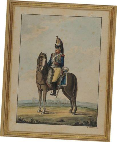 Cuirassier 1er Régiment, aquarelle, Premier Empire. Gravure aquarellée en couleurs...