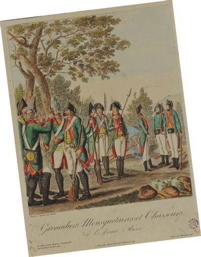 Gravure imprimée et noir et mise en couleurs représentant des Grenadiers Mousquetaires...