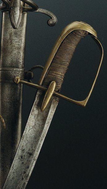 Sabre d'Officier de Cavalerie Légère, Révolution Empire. Monture en laiton. Branche...