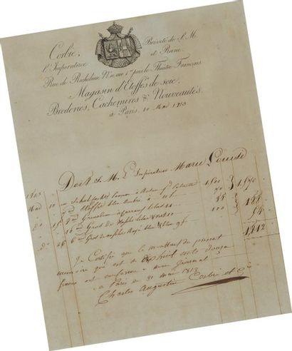 Facture adressée à SM l'Impératrice Marie-louise par la Maison Corbie, à Paris le...