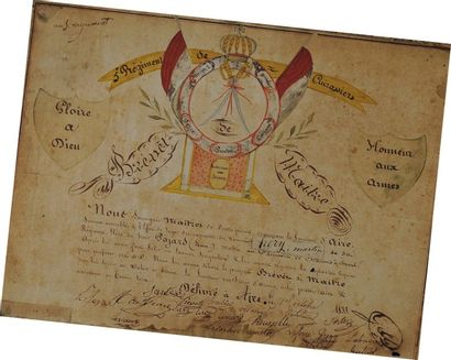 Brevet de maître du 5e Régiment de Cuirassiers, Monarchie de Juillet. Brevet de...