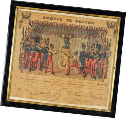Brevet de pointe, Seconde République Brevet décerné le 1er mars 1847. Lithographie...