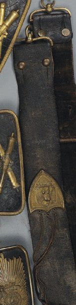 Banderole d'Officier de Cavalerie Légère, Second Empire. En cuir verni noir doublé...